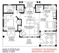 Small house w/ window seat in dining room. Reverse small closet in master to be entry way closet (opening from other side) Robinson Residential
