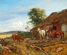 Johan Thomas Lundbye (1818-1848): A farmer is unharnessing a horse