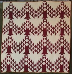 Great 19th c Antique Cranberry TREE of LIFE or PINE Tree QUILT