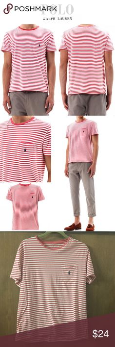 Polo Ralph Lauren Red/White Striped Pocket Tee This white and red horizontal stripe cotton-jersey t-shirt has a crew-neck, short-sleeves and a chest pocket with a navy-blue embroidered logo detail. 100% cotton. Size Large (TAG REMOVED) EUC NO FLAWS Polo by Ralph Lauren Shirts Tees - Short Sleeve