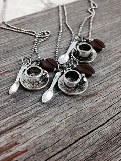 Coffee Lovers Necklace with Cup Spoon and Bean on Stainless Steel Ball Chain | DuctTapeAndDenim.etsy.com