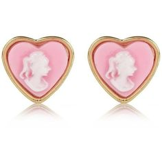 River Island Light Pink Cameo Heart Stud Earrings ($2.66) ❤ liked on Polyvore featuring jewelry, earrings, accessories, pink, heart jewelry, cameo stud earrings, river island, heart jewellery and heart stud earrings
