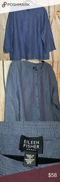 EILEEN FISHER (2X) BEAUTIFUL EILEEN FISHER 100% IRISH LINEN BUTTON DOWN HAS A 3/4 SLEEVE...CHEST IS 26' ACROSS FROM UNDERARM TO UNDERARM..LENGTH IS 28'..SLEEVE IS 21'..NO FLAWS Eileen Fisher Tops Button Down Shirts