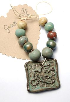 Messenger of Love / Earthy Ceramic Flying Bird Pendant and by gaea, Feeling earthy today!