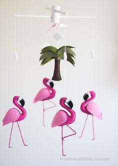 Chaud Mobile bébé flamant rose Bébé fille Mobile, Flamingo pépinière, pépinière de bébé fille, feutre bébé Mobile, Mobile animaux, pépinière Decor