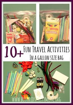 Gather these simple materials together. Now you're always prepared for home, travel, grandparents, etc. No searching. 10+ activities for FUN!