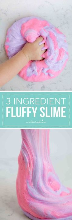 How to make fluffy slime with only 3 ingredients! #slime #slimerecipe #fluffyslime #pinkslime #kids #kidscraft #kidsactivities #indoorcraft #glue #iheartnaptime