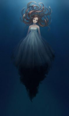 Under the water Picture  (2d, fantasy, illustration, girl, woman, underwater)