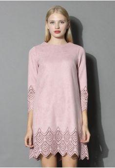 Vestido Suelto en Gamuza Color Rosa - Dress - Retro, Indie and Unique Fashion
