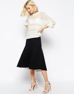 Image 4 ofWeekday Structured Jersey Skirt With Contrast Interior