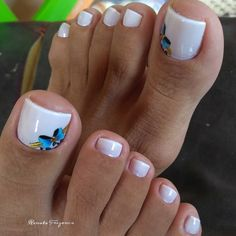 o segredo das francesinhas com esmaltes misturados Toe Nail Color, Toe Nail Art, Nail Colors, Nude Nails, Nail Manicure, Acrylic Nails, Toenail Art Designs, Pedicure Designs, Pretty Toe Nails