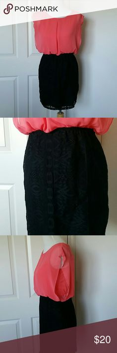 Small Maurices Coral and Black Dress Loose coral top with a black tight lace skirt Maurices Dresses Mini
