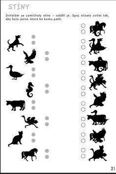 Stíny - Zvířátkům se zamíchaly stíny. Najdi je! Aktivity pro nácvik matematiky, pozornosti a orientace, čtení a grafomotoriky žáků se specifickými poruchami učení v 1. až 3. ročníku ZŠ