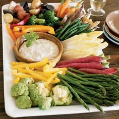 This is a great party platter to serve any time of year—just change the vegetables according to the season. In winter, blanch the vegetables (see directions below) to give them extra flavor and color.
