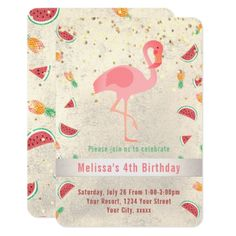 #girly - #flamingo design summer party card