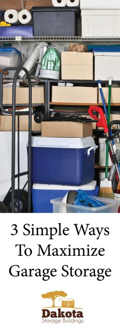 We all know that garages are perfect for utility and storage; they're also quick to collect clutter. The problem often lies in figuring out the best way to organize the space to maximize efficiency.   The next time you're in the mood to tackle the task of reorganizing your garage, remember these three organizational ideas. More: http://www.dakotastorage.com/blog/3-simple-ways-to-maximize-garage-storage