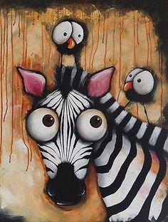 ACEO PRINT Whimsical art wildlife animal Zebra birds crows