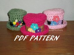 Mini-Top Hat Crochet PATTERN PDF (Instant Download). $2.99, via Etsy.