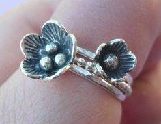 Cherry Blossom Flowers Stacking Rings in Sterling by SugarCity, $52.00