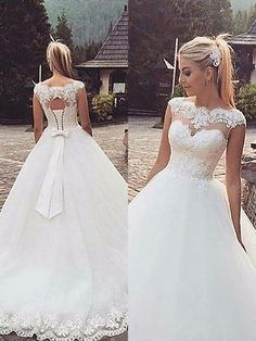 Ball Gown Sleeveless Bateau Lace Tulle Court Train Wedding Dresses - Wedding Dresses - Hebeos Online