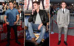 Zac Efron  Zac faz o tipo mais certinho, impecável. Seja com jeans, jaqueta de couro terno com colete (clássico e chique), ele acerta sempre!