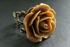 Light Brown Rose Ring. Latte Brown Flower Ring. Filigree Ring. Adjustable Ring. Flower Jewelry. Handmade Jewelry. by StumblingOnSainthood from Stumbling On Sainthood. Find it now at http://ift.tt/2mNwgGB!