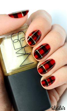 Black and Red Plaid Print Nail Tutorial