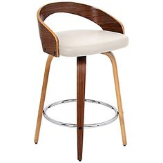 "Gratto 24"" Cream Faux Leather and Walnut Counter Stool"