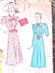 1930s Pictorial Review Printed pattern 9664  Bust 34 door Fancywork