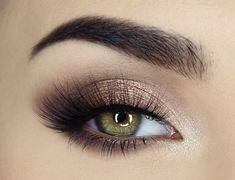 Brown and Gold Sparkle Smokey Eye Makeup