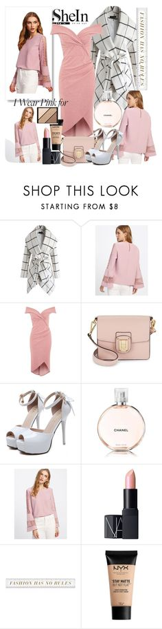 """Delicate Rose"" by malrocs-polyvore ❤ liked on Polyvore featuring Chicwish, TFNC, Sam Edelman, WithChic, Chanel, NARS Cosmetics, NYX and Elizabeth Arden"