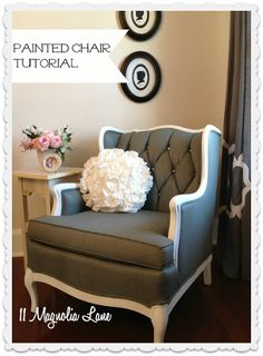 tutorial how to paint upholstery fabric and transform a chair, chalk paint, painted furniture, reupholster, The after shot with four coats of dark grey paint and rhinestone bling on the buttons