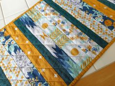 Turquoise yellow quilted table runner, handmade patchwork topper, modern kitchen mat, cotton and steel fabrics, fabric dining bohemian quilt by SewEverAfter on Etsy