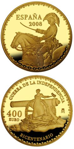 euro: Bicentenary War of Independence.Country: Spain Mintage year: 2008 Face value: 400 euro Diameter: mm Weight: g Alloy: Gold Quality: Proof Mintage: pc proof Piece Euro, All Currency, Coin Art, Gold And Silver Coins, Commemorative Coins, World Coins, European History, Rare Coins, Coin Collecting