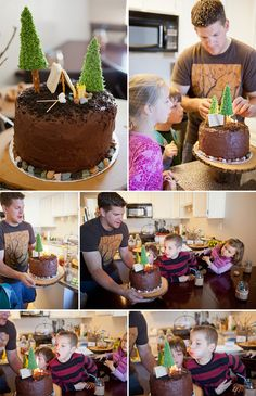 This is an easy camping party cake. I like the tree and candles as the campfire.