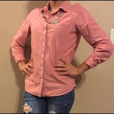 Old Navy button down shirt Brand: old navy - size: XS - button down shirt - color: light red Old Navy Tops Button Down Shirts