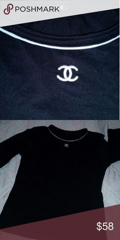 Chanel Top Like New used Condition! Spandex material and polyester feeling top! Black and white CHANEL Tops Blouses