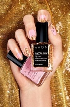 I'm ready to sparkle in this cute gold mani with Avon's new Dazzlers polish. Pick your polish today at:   youravon.com/absoluteradience    #AvonRep #NailPolish