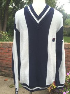 Vintage Cotton Stripe Izod V- Neck Tennis Sweater