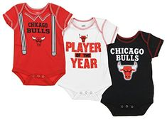 Chicago Bulls NBA Infant 3 Piece Onesie Pack, Red/Black/White  https://allstarsportsfan.com/product/chicago-bulls-nba-infant-3-piece-onesie-pack-red-black-white/  100% cotton Screen printed graphics on front / blank on back 3 button closure at crotch / 3 pack