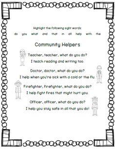 Community Helpers Poem - could make own flip book including more ...