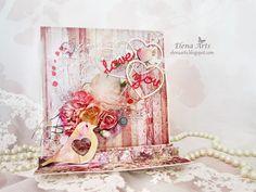 "Elena Arts: Tarjeta en 3D ""Ell amor está en el aire"". Mixed Media, Shabby Chic, Collage, Scrapbook, Cover, Cards, 3d, Amor, Modeling Paste"