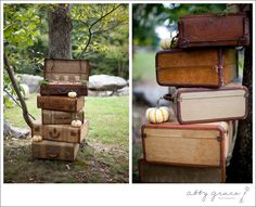HP Wedding Ideas - stack of luggage near the entrance, where everyone is arriving.
