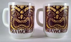 Pair of Sea World Souvenir Tiki Coffee Mug Anchor Milk Glass Cup Theme Park Mug #AnchorHocking