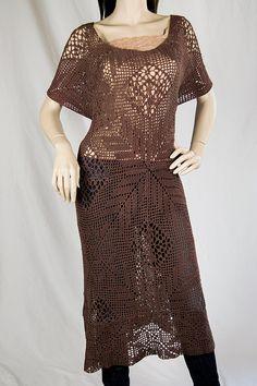 Cotton Crochet Long Tunic/Dress by InnaDavi on Etsy