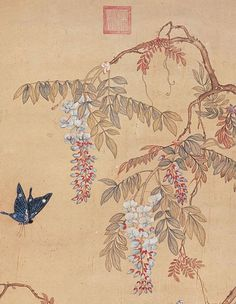 Butterfly + Chinese wisteria flowers - Xu Xi, ~ 970, early Song dynasty