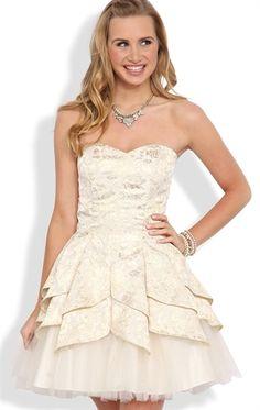 Strapless Short Prom Dress with Tulip Skirt and Exposed Crinoline