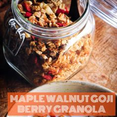 This easy, healthy and delicious granola makes for one satisfying gluten-free vegan breakfast, snack or refined sugar-free treat!   #GojiBerries #gojiberry #superfood #HealthyLife #organicfood #yogurt #health #nutrition