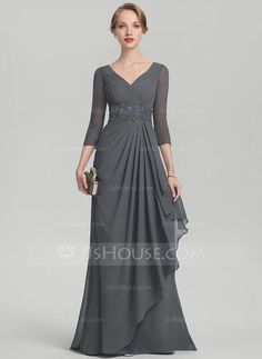 A-Line/Princess V-neck Sweep Train Beading Sequins Cascading Ruffles Zipper Up Sleeves 3/4 Sleeves No Steel Grey General Plus Chiffon Height:5.7ft Bust:33in Waist:24in Hips:34in US 2 / UK 6 / EU 32 Mother of the Bride Dress