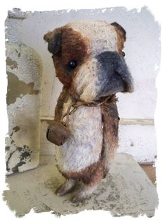 Beautiful Vintage style mohair bears done in the style of a dog by the talented artist Wendy Meager!